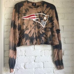 Cropped Bleach-Dyed Patriots Longsleeve